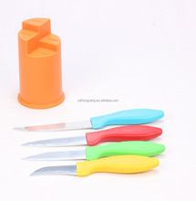 new design best selling 4 color PP handle kitchen knife set with pp knife stand
