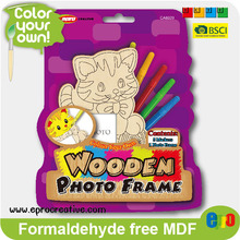 EPRO CA8929D handmade wooden toys for kids, cat design color your own wooden photo frame set