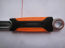 "10"" chrome plated black and orange rubber handle monkey wrench size 10"