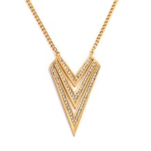 Fashion Brand Hot Trending Designs Gold Jewelry Accessories for Women Triangle Pendant Necklace N2491