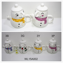 WL15A002-3 snowman gift christmas ceramic coffee mug with ceramic cover and pot