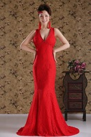 SZRR1523 Red Sexy deep V-neck Backless Mermaid wedding dress