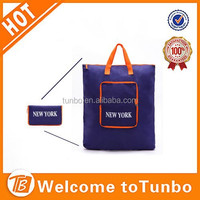 Reusable Compact Eco Shopping Nylon Tote Bag folded into pouch