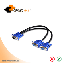VGA 15 Pin Male to 2 Dual Double Female Monitor Y Adapter Splitter Cable