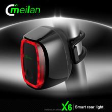 X6 Auto light system ,USB bike light, smart bike light streamline rear light manufacture high end