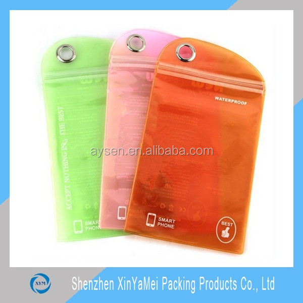 Phone Use PVC Zip Lock Bags With Metal Hole