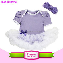 2015 lovely Newborn Baby Lavender White Jumpsuit Bodysuit Tutu Party Dress Romper 0-24M