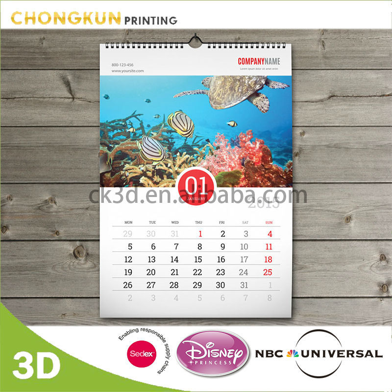 customized spiral bound 3d lenticular wall hanging calendar for