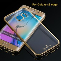 [hot] 2015 Good Quality factory price Original Case for s6 edge Electroplated Crystal PC Hard Case for galaxy s6 edge