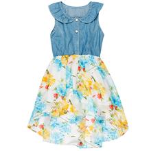 Baby Girls Denim Floral Chiffon Kids Dress for 4-12 Years