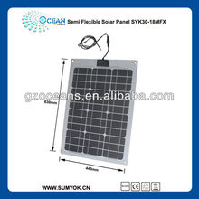 semi flexbile 30W with solar cell panel with high efficiency solar cell guangzhou manufacturer