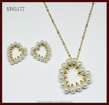 Delicate heart pearl fahion jewelry sets
