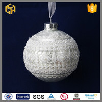 Wholesale the surface is lace fabric glass ball for christmas decoration
