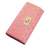 2015 Woman fashion leather purse pink embroidered leather trend wallet WA5085
