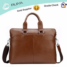 Fashion Men GuangZhou Brown PU Leather Briefcase Document Bag With Zip