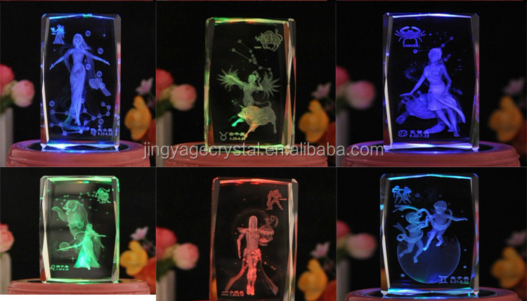 Customized Xmas 3d crystal cube gift christmas