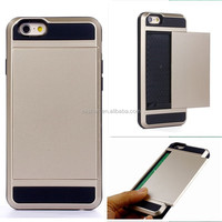 Protect Armour Metal+Silicone Mobile Phone Cover Case For iPhone 5/5S/6 With Card/Money Storage That Can Slip