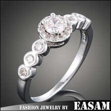 High quality jewelry wholesale fashion luxury zircon setting silver engagement ring