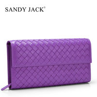 Italy brand name Sand Jack 100% handmade weave leather long wallet in Zipper Close double color mosaic sheep leather wallet