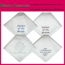 Factory 100% cotton Wedding Handkerchief ,Father of the Bride and groom Embroidered Handkerchief for gifts