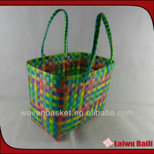 100%handmade colorful shiny plastic knitted bag