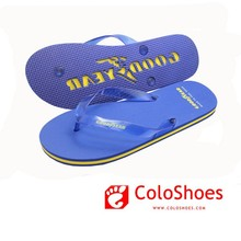 Good quality promotional blue flip flop with logo stamping beach