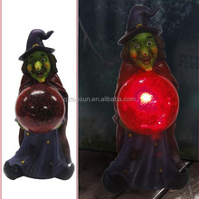 Polyresin witch ghost pumpkin with glass ball solar light