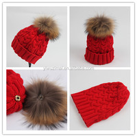 Wholesale ladies embroidered knitted beanie hat with pom pom adult women beanie hats with top ball