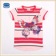 (k3856)2-6Y Factory made kids t shirts girls cotton t shirts hot selling butterfly kids girls printed top