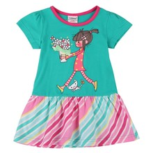 Ajiduo Toddler Girls Summer Dress Baby Lovely Cartoon Kids Brand Party Dresses Casual Children Clothing