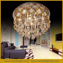 round ceiling lamp for room/K9 crystal modern ceiling lighting with stainless steel base