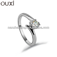 OUXI fashionable Real ladies chocolate CZ ring 40121