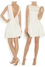2014 diseñador de moda las mujeres primavera verano sin respaldo sin mangas vestido de bola del club sexy elegante vestido 6616