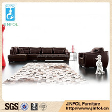 Leather living room furniture sofa , European style luxury living room furniture