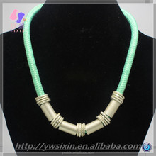 The latest design of the summer fluorescent color thick cotton rope alloy necklace for girl