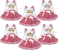 Personalize Custom Birthday Baby Name White L/S Top Pink Bling Sequin Skirt 1-8Y