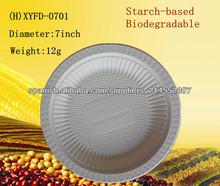 Plato de 7 pulgadas basado en almidón biodegradable desechable