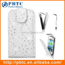 Set Screen Protector Stylus And Case For Samsung Galaxy Fame S6810 , White Leather Wallet Glitter Mobile Phone Case