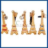 Crystal Eiffel Tower 3.5 mm Dustproof Plug for iPhone/iPad/Cell Phones