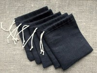 Black Linen Gift Pouches Jewelry Small Bags