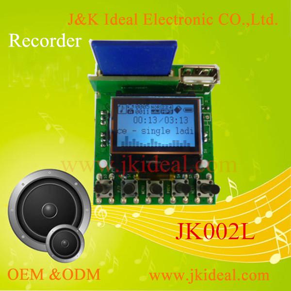 jk002l kaliteli usb mp3 kaydedici modülü fm radyo çalar kiti lcd
