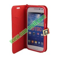 Toothpick Line Design Flip Stand Leather Case Cover for Samsung Galaxy S4 Mini i9190 with Card Slots