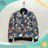 DX115 good quality top sell plain black baseball jacket satin