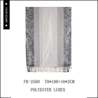 2015 Hot sale classic soft long polyester and lurex pattern scarf