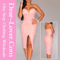 2015 Pink Lace Strapless Padded Knee Length Evening Dress mother of the bride dress