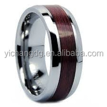 Hight Quantity Titanium Steel Ring Wholesale Stainless Steel Jewelry Inlaid Wood Factory Directly Fashion Wood Ring