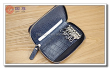 2015 Fashion Handmade Leather Car Keychain Key Holder Bag Wallet Cover/Key Hook Zipper Case with Card Holder