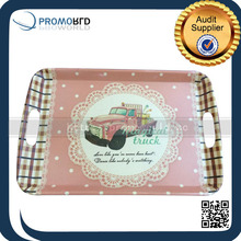 Eco-friendly Bamboo Fiber Custom Printed Square Carrying Serving Tray With Handles