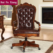 Solid wood frame swivel chair with genuine leather finish for office and home AH-202