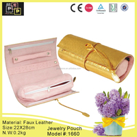 Collapsible and foldable leather handmade linen velvet jewelry pouch